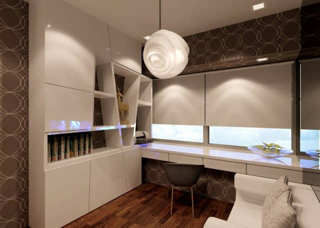 interior design of study area in woodsville close