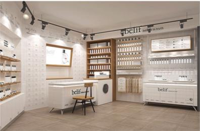minimalist store interior design of belif retail store