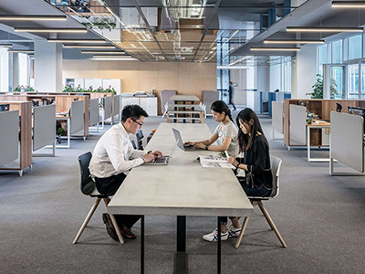 modern office interior design with working adults