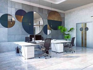 modern office interior design with circle mirrors