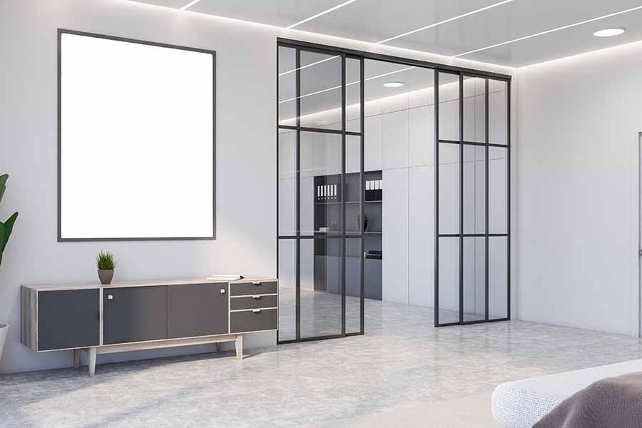 minimalist home interior design with glass door