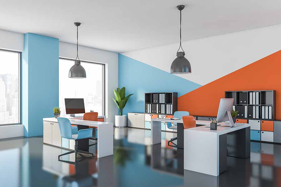 brightly coloured office in blue and orange