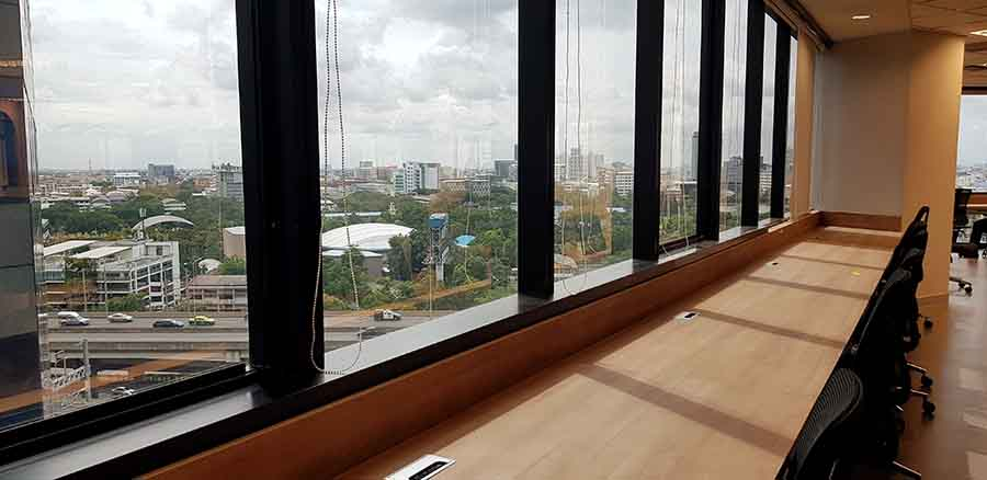 window seats in office with ample light