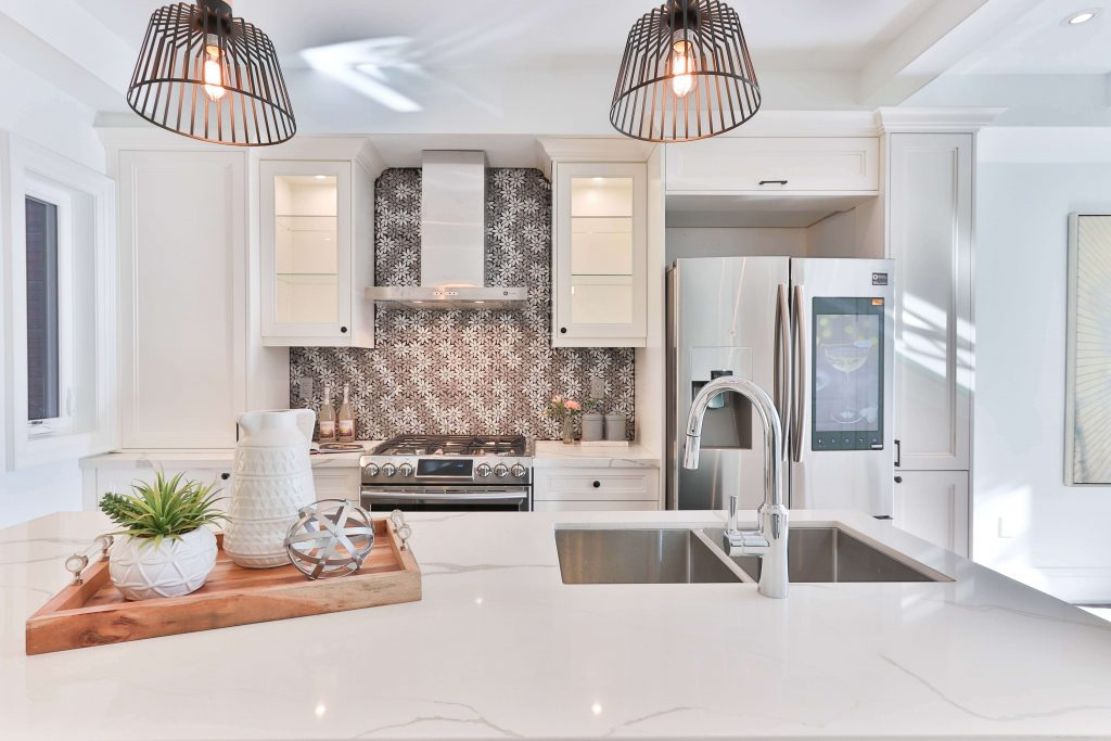 interior design of kitchen with variety of materials