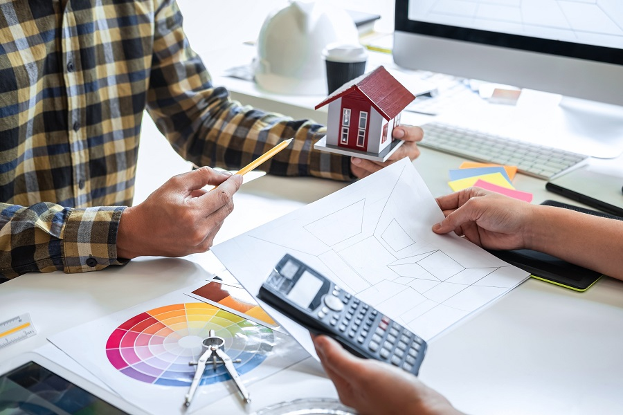 two people planning home interior design layout