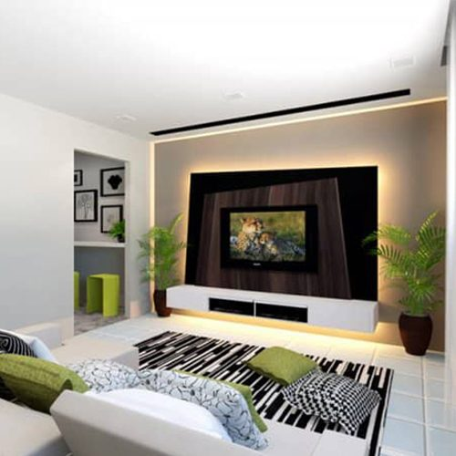 view of white and green living room interor