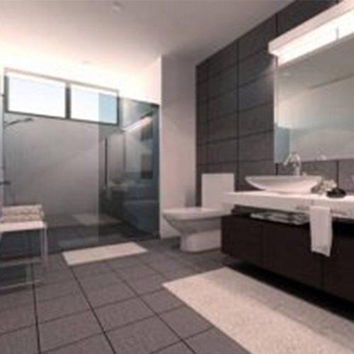 clean and spacious bathroom interior